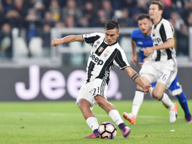 Juventus' Paulo Dybala scores against Udinese on Saturday. AP