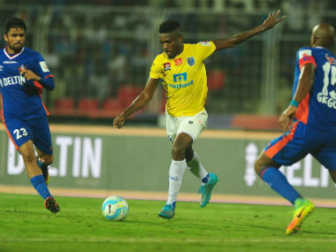 Action between Kerala Blasters and FC Goa at Fatorda on Monday. ISL