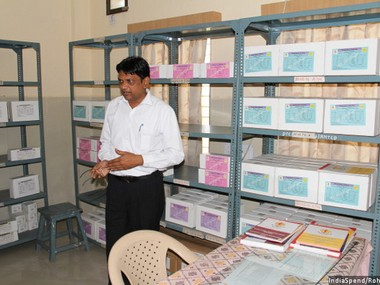 KK Patel, district TB officer, Mehsana, Gujarat, is seen in the drug storage room at the district TB centre. The pilot programme in Mehsana has been successful, in part, because of its strong public health system, Patel explained. Pic courtesy: Indiaspend