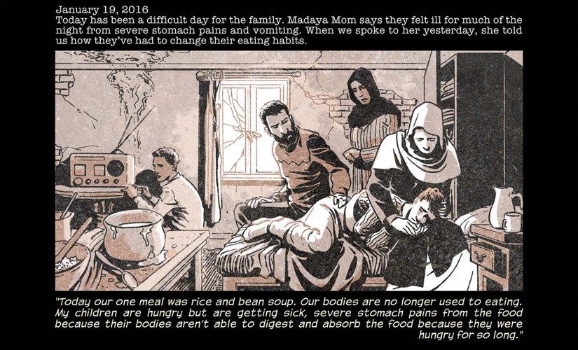 The first page of the comic Madaya Mom, which gives a poignant account of how starvation haunts the residents of Madaya. ABC News