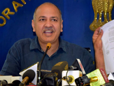 Manish Sisodia during the press conference. PTI