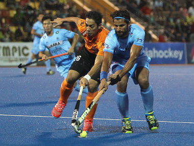 Action in the Asian Champions Trophy between India and Malaysia. Twitter/@TheHockeyIndia