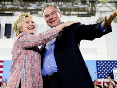 A file photo of Hillary Clinton and Tim Kaine. AP