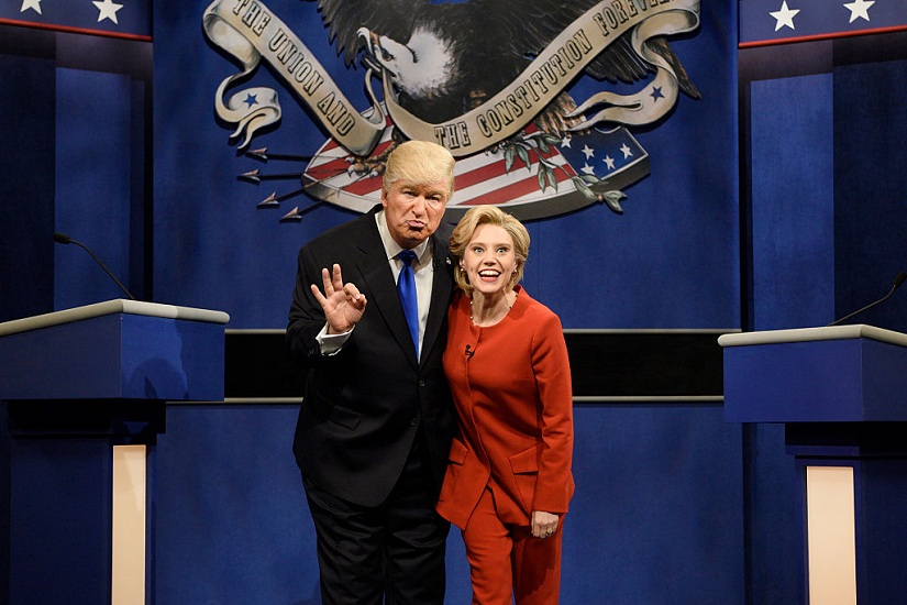 """SATURDAY NIGHT LIVE -- """"Margot Robbie"""" Episode 1705 -- Pictured: (l-r) Alec Baldwin as Republican Presidential Candidate Donald Trump and Kate McKinnon as Democratic Presidential Candidate Hillary Clinton during the """"Debate Cold Open"""" sketch on October 1, 2016 Image courtesy: Will Heath/NBC/NBCU Photo Bank/Getty Images"""