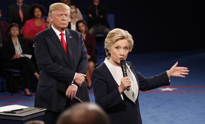 Hillary Clinton and Donald Trump during the second presidential debate. AP
