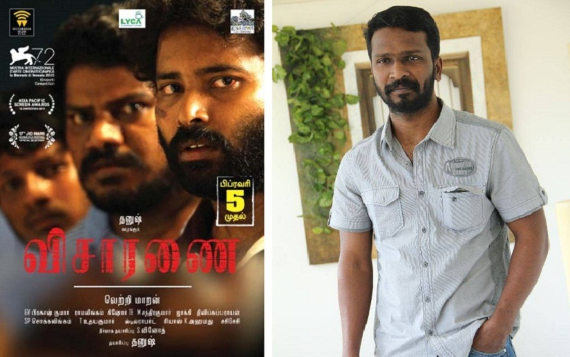 (L) Poster of 'Visaranai'; (R) Vetri Maaran. Image from Facebook