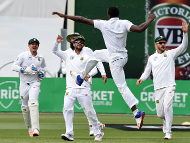 The South Africa players celebrating a wicket in their Test win. AFP