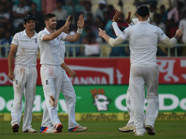 England players celebrate the wicket of Ajinkya Rahane on Day 1 of the 2nd Test against India at Vizag. AFP