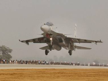 Fighter plane Sukhoi touches down  during the grand opening of Agra-Lucknow expressway on Monday. PTI