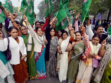 Rashtriya Janta Dal women workers protest against demonetization in Patna on Monday. PTI