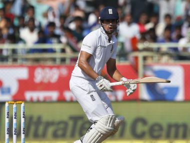England captain Alastair Cook was unbeaten on 28 at the end of the second session on Day 4. AP