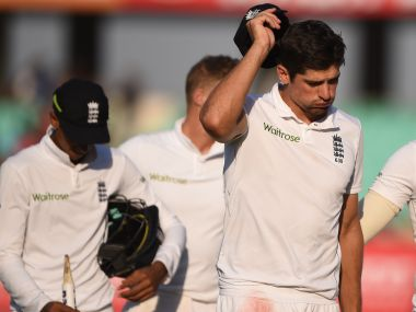 Alastair Cook was happy with his side despite a big defeat in the 2nd Test at Vizag. AFP