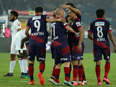 Atletico de Kolkata players celebrate a goal against Delhi Dynamos. Image courtesy: ISL