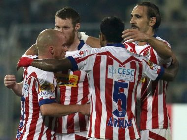 Atletico de Kolkata players celebrating after winning match. ISL