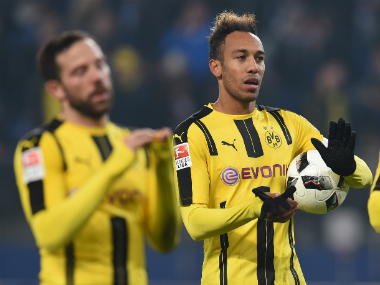 Aubameyang's 4 goals ensured a huge victory for Borussia Dortmund. AFP