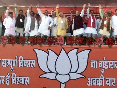 Saharanpur: BJP National President Amit Shah during an election rally for UP elections in Saharanpur on Saturday. PTI Photo (PTI11_5_2016_000163B)