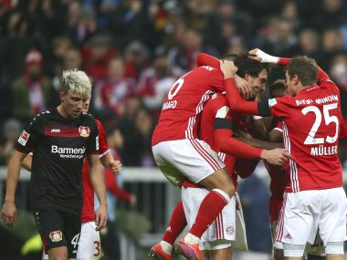 Bayern's Mats Hummels reacts with teammates after scoring. Reuters