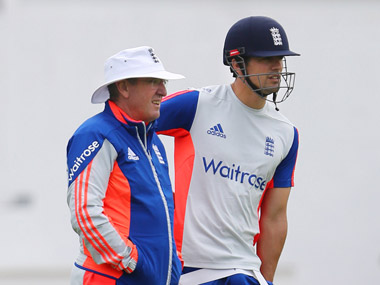 File photo of England coach Trevor Bayliss and captain Alastair Cook. AFP