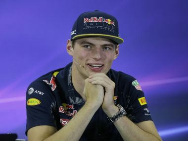 Red Bull driver Max Verstappen speaks during a press conference in Sao Paulo. AP