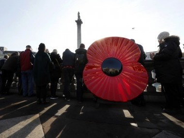 A giant poppy displayed in Trafalgar Square to mark Armistice Day in London. AP