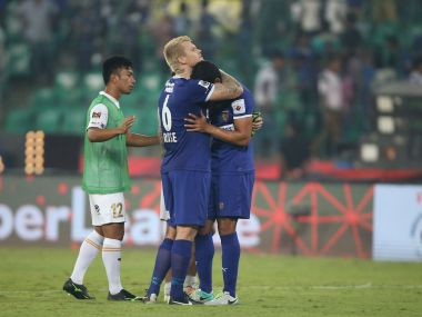 Chennaiyin FC players console each other after NEUFC's last minute goal earned them a valuable draw. ISL