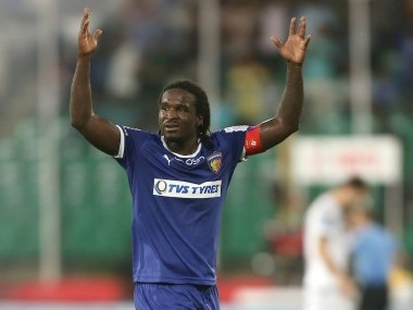Chennaiyin FC captain Bernard Mendy celebrates scoring in ISL 2016. ISL