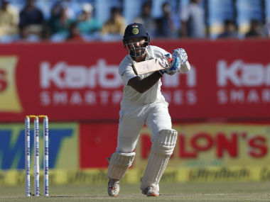 Cheteshwar Pujara in action in Rajkot in the opening Test against England. AP