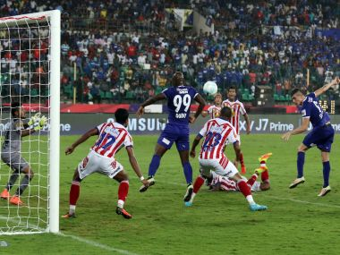 Davide Succi of Chennaiyin FC heads the ball to score. ISL