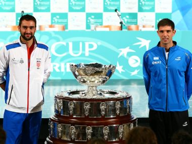 Croatia's Marin Cilic (L) and Argentina's Federico Delbonis pose for a picture after the official Davis Cup finals draw. Reuters