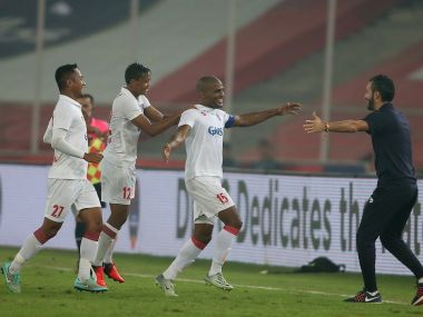 Delhi Dynamos FC captain Florent Johan Malouda celebrates his second goal. ISL