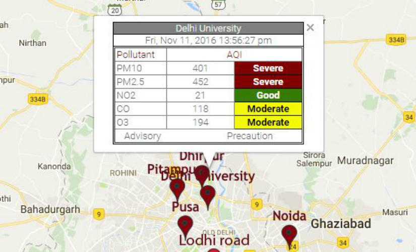 The real-time air quality index as read on System of Air Quality and Weather Forecasting And Research.
