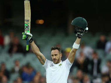 Faf du Plessis celebrates after bringing up his century in 147 deliveries on Day 1 of the 3rd Test at Adelaide. AFP