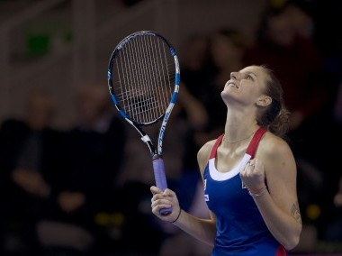 Czech Republic's Karolina Pliskova reacts after she defeats France's Kristina Mladenovic during the Fed Cup final. AP