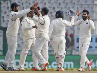 Ravindra Jadeja celebrates the wicket of Joe Root with team-mates on Day 4 of the 3rd Test. AP