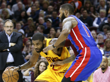 Kyrie Irving (L) was Cleveland Cavaliers' top-scorer in the match against Detroit. AP