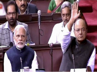 Prime Minister Narendra Modi and Finance Minister Arun Jaitley during Rajya Sabha proceedings. PTI
