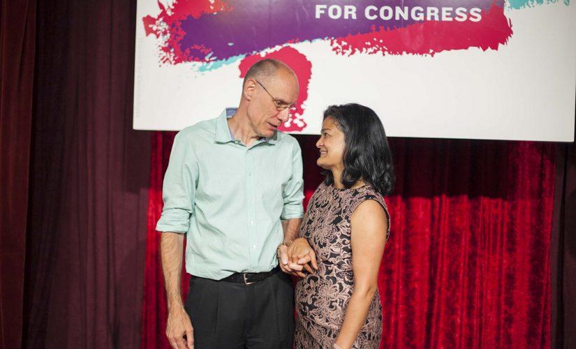 Pramila Jayapal with her husband Steve Williamson. Image courtesy Jin-Ah Kim/File photo