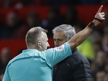 Manchester United manager Jose Mourinho is sent to the stands by referee Jonathan Moss. Reuters