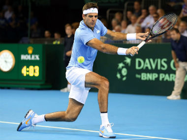 Argentina's Juan Martin del Potro in action in the Davis Cup. AP
