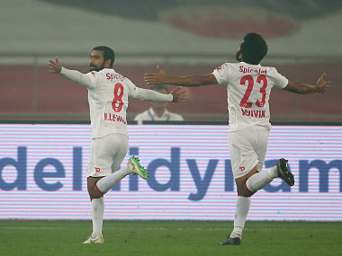 Kean Lewis celebrates after scoring the opening goal against Kerala Blasters. ISL