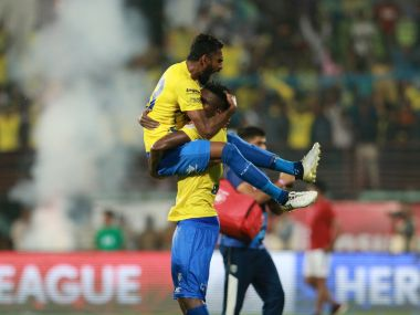 Kerala Blasters FC players celebrate after winning the match. ISL