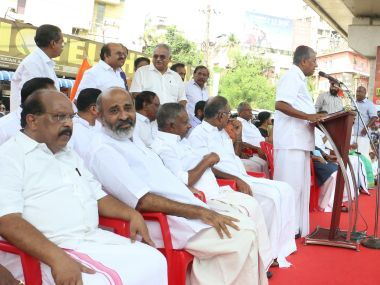 Chief Minister Pinarayi Vijayan leading a dharna in front of the RBI office at Thiruvananthapuram on Friday: Photo courtesy by T K Devasia.