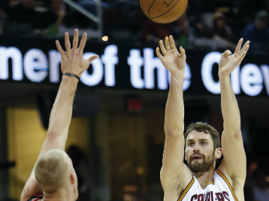 Kevin Love taking a shot during the Cavaliers' win against the Portland Trailblazers. AP