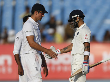 Indian cricket captain Virat Kohli with England's cricket captain Alastair Cook. AP