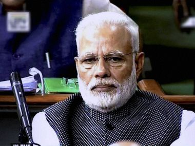 Prime Minister Narendra Modi in Lok Sabha on Wednesday. PTI