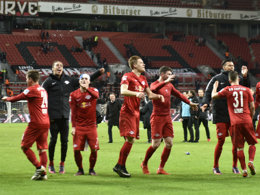 The RB Leipzig players celebrating after their win. AP