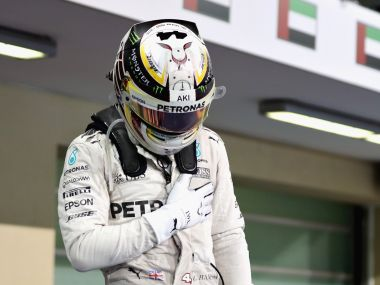 Lewis Hamilton thanks the Abu Dhabi crowd after finishing his Grand Prix. Getty