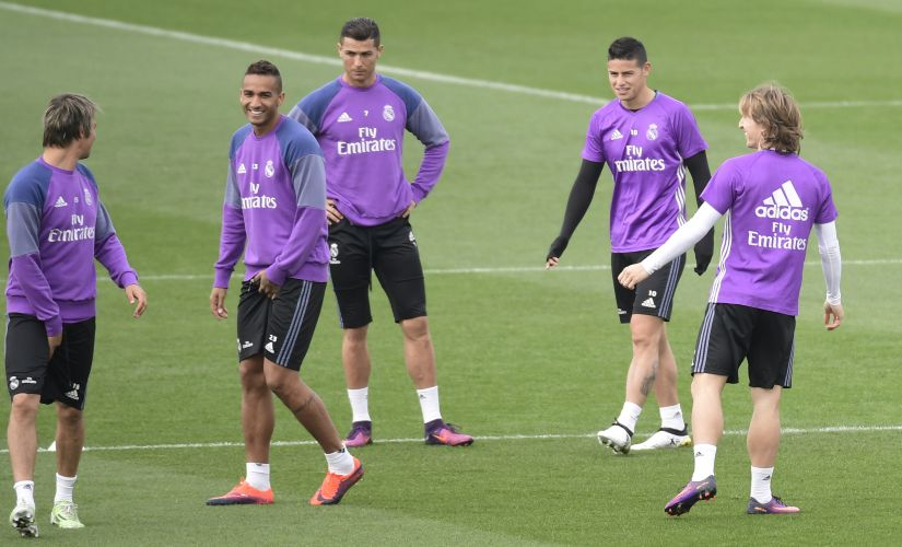 Cristiano Ronaldo and teammates take part in a training session ahead of the Madrid derby. AFP