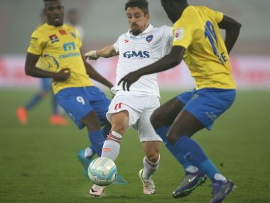 Delhi Dynamos player Marcelinho in action. ISL