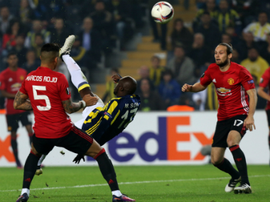 Moussa Sow's incredible overhead kick goal sunk Manchester United. AFP